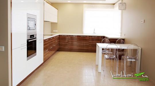 virtuves baldai su blizgia plokste
